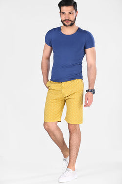 Men's Patterned Yellow Shorts