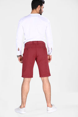 Men's Patterned Claret Red Shorts