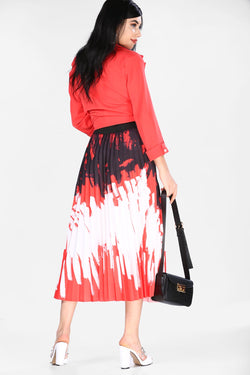 Women's Pleated Red Pattern Skirt