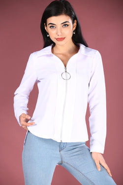 Women's Zipped White Shirt