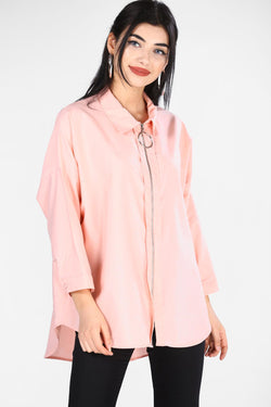 Women's Zipped Powder Rose Shirt