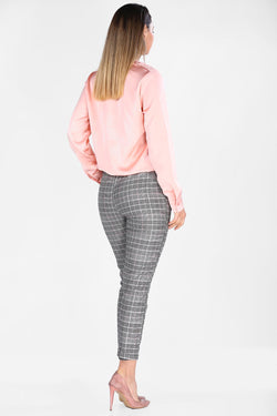 Women's Plaid Grey Pants