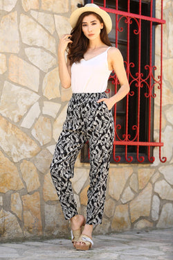 Women's Patterned Black Pantalettes & Pants