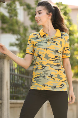Unisex Polo Collar Patterned Mustard T-shirt