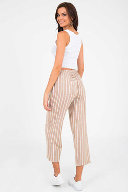 Women's Striped Beige Pants
