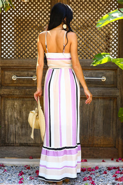 Women's Strappy Striped Lilac Dress