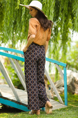 Women's Patterned Black Pants