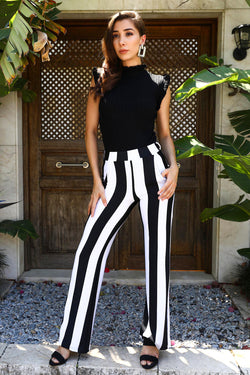 Women's Striped Black Pants