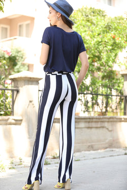 Women's Striped Navy Blue Pants