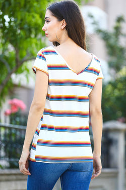 Women's Striped Ecru T-shirt