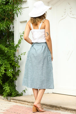 Women's Striped Button Skirt