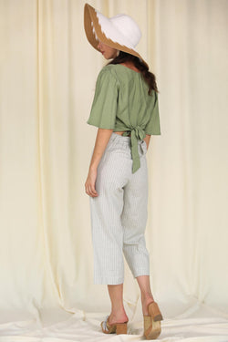 Women's Striped Linen Pants