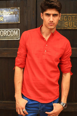 Men's Crew Neck Vermilion Shirt