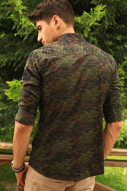Men's Camouflage Pattern Khaki Shirt