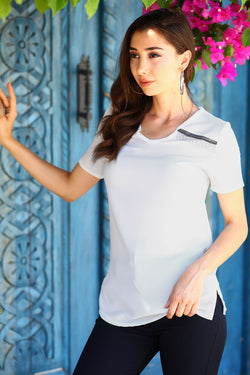 Women's Short Sleeves White T-shirt