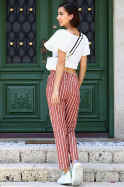 Women's Striped Tile Red Pants