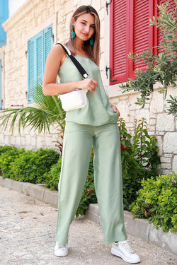 Women's Strappy Mint Green Blouse Pants Set