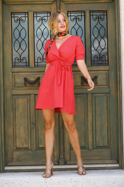Women's Wrap Collar Coral Midi Dress