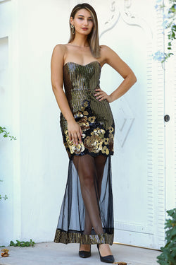Women's Yellow Sequin Tulle Hem Black Evening Dress