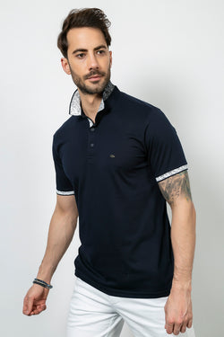 Polo Neck Navy Blue Jacquard T-shirt
