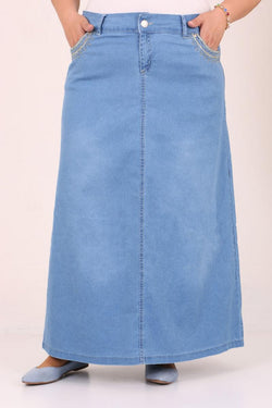 Women's Oversize Chain Embroidered Blue Denim Skirt