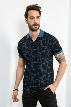 Polo Collar Patterned Black T-shirt