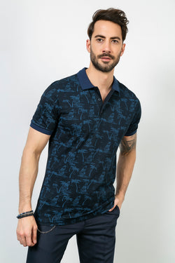 Pattern Detail Polo Collar Navy Blue T-shirt