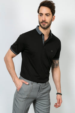 Patterned Polo Neck Black T-shirt