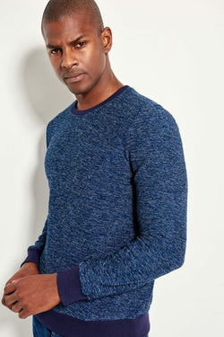 Men's Patterned Navy Blue Sweatshirt
