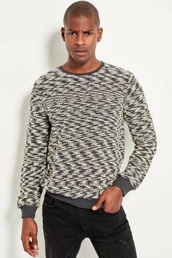 Men's Patterned Anthracite Sweatshirt