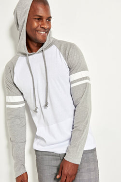 Men's Hooded Kangaroo Pocket Printed Sleeves Grey White Sweatshirt