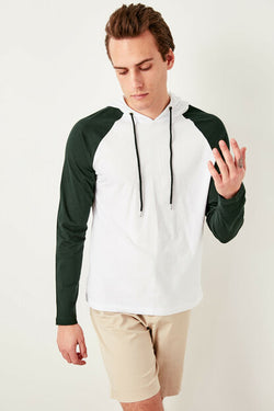 Men's Hooded Emerald Green Raglan Sleeves White Sweatshirt