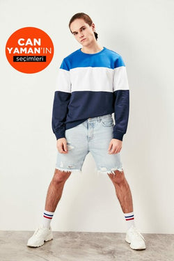 Men's Oversize Panelled Navy Blue Sweatshirt