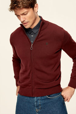 Men's Claret Red Embroidered Cotton Cardigan