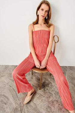 Women's Strappy Pleated Coral Blouse