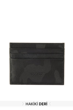 Men's Camouflage Pattern Real Leather Black Wallet