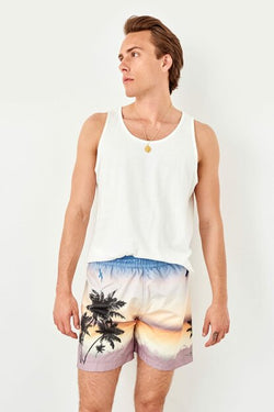 Men's Palm Print Swim Trunks