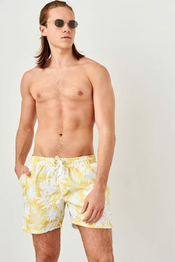 Men's Leaf Print Yellow Swim Shorts
