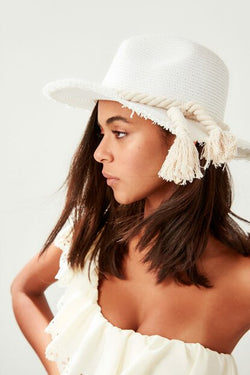Women's Rope Tie Detail Ecru Straw Beach Hat