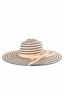 Women's Navy Blue Striped Straw Hat