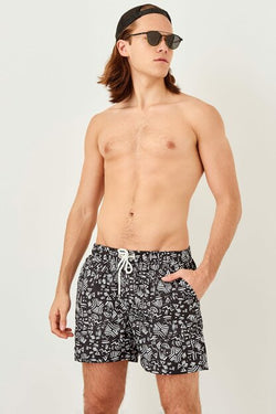 Men's Geometric Pattern Black Swim Trunks