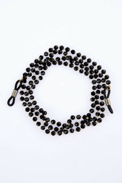 Women's Black Crystal Stone Chain Glasses Accessory