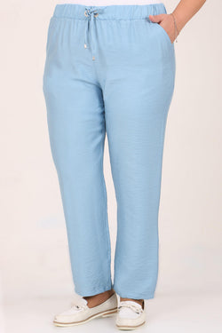 Women's Oversize Tie Waist Ice Blue Pants