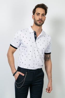 Polo Collar Printed White T-shirt