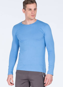 Men's Light Blue Basic Slim Fit Sweatshirt
