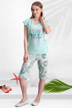 Women's Oversize Patterned Mint Green Capri Pajama Set