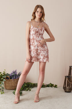 Women's Strappy Patterned Short Dusty Rose Dress