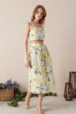 Women's Strappy Floral Pattern Yellow Crop Blouse