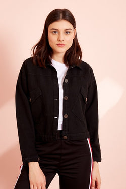 Women's Double Pocket Short Sleeve Black Jacket