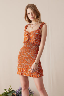 Women's Strappy Patterned Ginger Dress